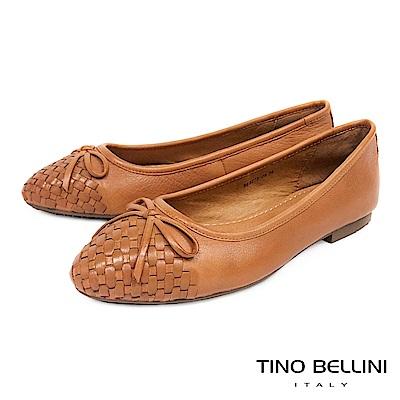 Tino Bellini 細緻皮革編織小蝴蝶結娃娃鞋 _ 棕