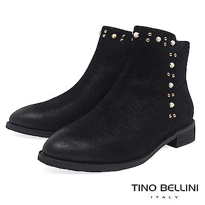 Tino Bellini冬日輕奢金屬珍珠全真皮平底短靴_黑