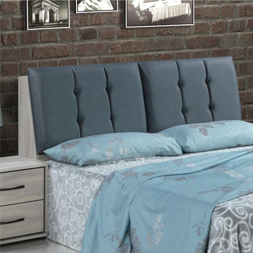 文創集 皮斯 橡木紋6尺布紋皮革雙人加大床頭箱(不含床底+不含床墊)-182x29x99cm免組