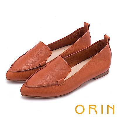 ORIN 優雅時髦  軟牛皮素面尖頭樂福鞋-橘色