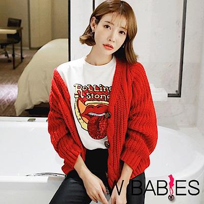 正韓 V領長袖麻花紋針織外套 (紅色)-W BABIES