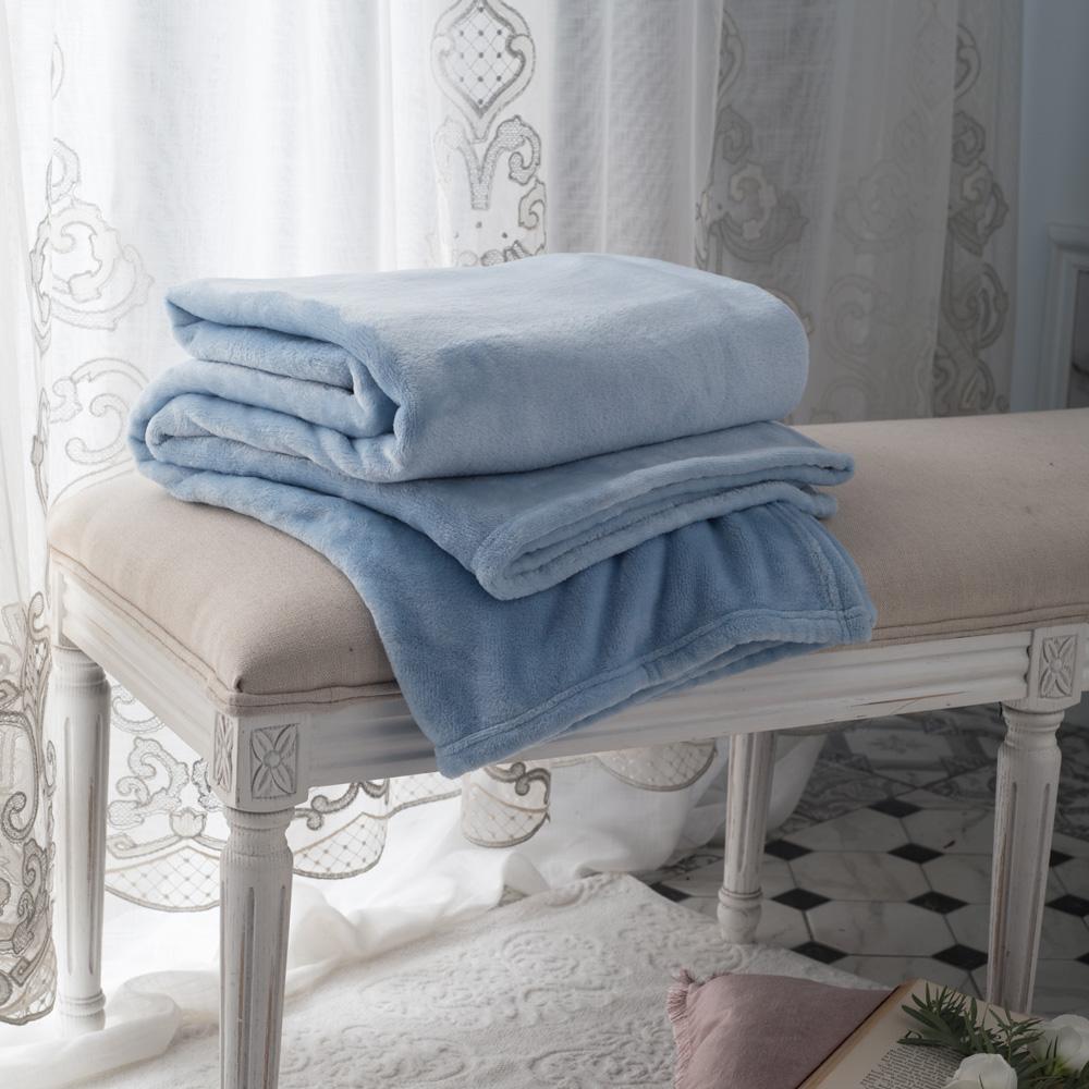 BBL Premium 素色暖意隨行毯(海灣藍)