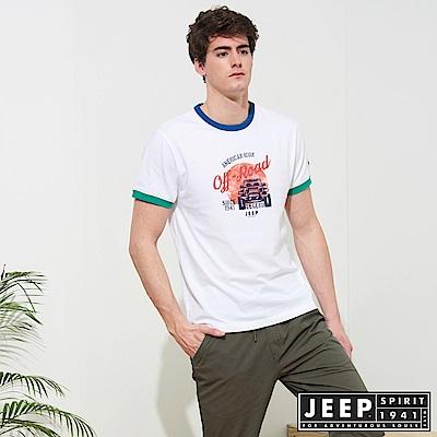 JEEP 塗鴉風格撞色短袖TEE-白色