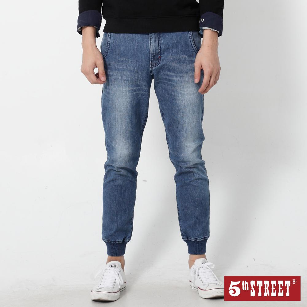 5th STREET JOGGER縮口褲-男款-酵洗藍