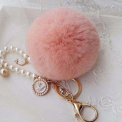 美娜甜心日系正品高質感珍珠獺兔毛球鑰匙圈吊飾-棒棒糖珍珠氣質款