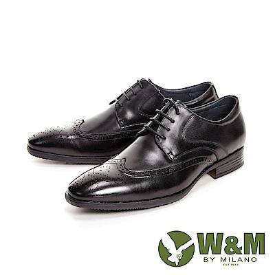 W&M亮皮壓紋紳士綁帶男皮鞋-黑