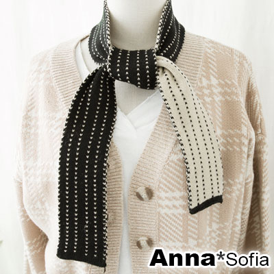 AnnaSofia 學院箭續線 雙面色針織窄版小圍巾(黑白系)