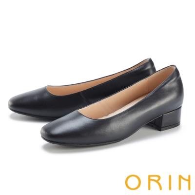 ORIN 真皮經典素面百搭 女 低跟鞋 黑色