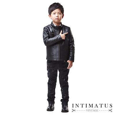 INTIMATUS 真皮 輪胎紋立領皮衣 男童裝 帥氣黑色