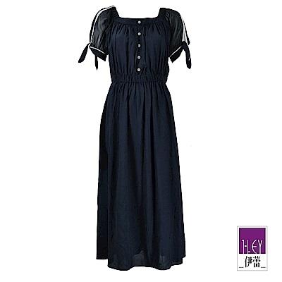ILEY伊蕾 微透膚雪紡拼接兩穿式洋裝(藍)
