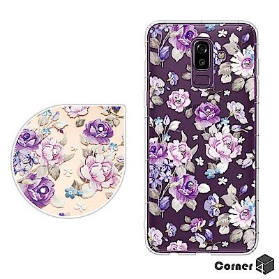 Corner4 Samsung Galaxy J8 奧地利彩鑽防摔手機殼-紫薔薇