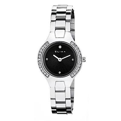 ELIXA Beauty晶鑽錶面簡約刻度金屬系列 銀色錶帶手錶29mm