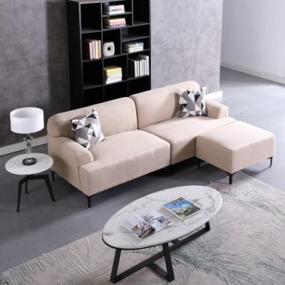 MUNA 文森特米色L型布沙發 237X178X80cm