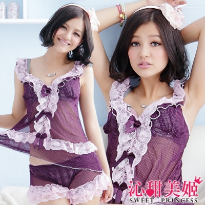 性感網紗睡衣褲組 雙層荷葉+蝴蝶結蕾絲延伸衣襬 滿版印點 沁甜美姬(紫)
