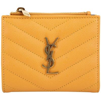 YSL Saint Laurent TINY MONOGRAM 金字粒面牛皮釦式短夾(黃色)