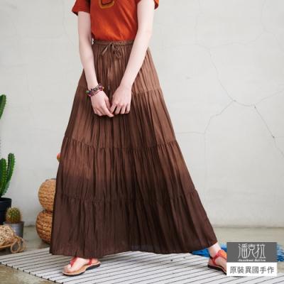 潘克拉 摺皺漸層綁染長裙- 咖啡色