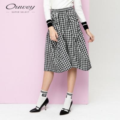 OUWEY歐薇 大口袋格紋氣球寬褲(黑)