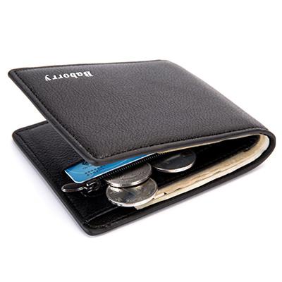 A+ accessories 型男個性簡約基本款零錢兩折短夾(2色任選)