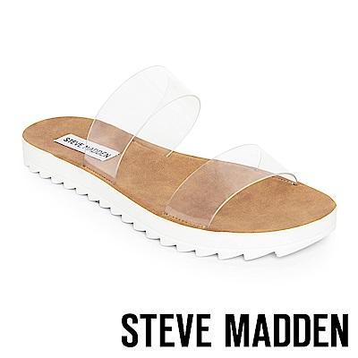 STEVE MADDEN-SUMMER 質感涼爽寬版平底涼鞋-白色