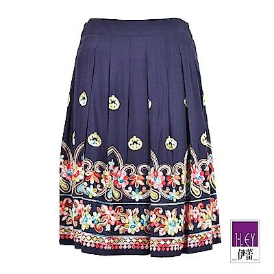 ILEY伊蕾 多彩刺繡花卉圖騰褶裙(藍)