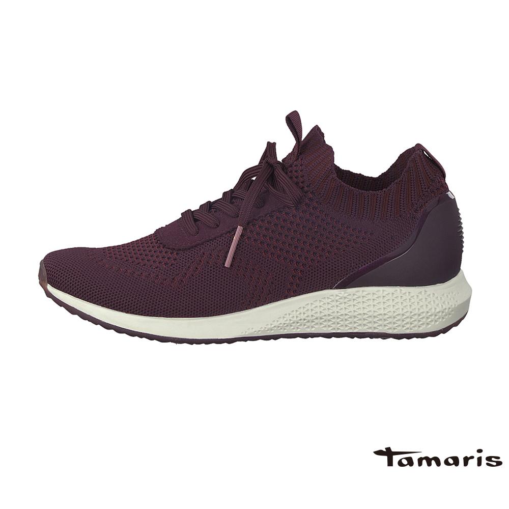 TAMARIS(女) Fashletics 系列 無內裡親膚彈力防滑運動鞋-酒紅