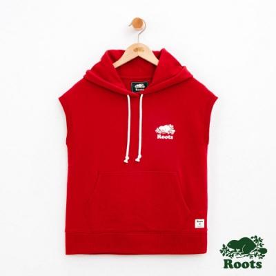 女裝Roots 庫柏海狸無袖連帽上衣-紅色