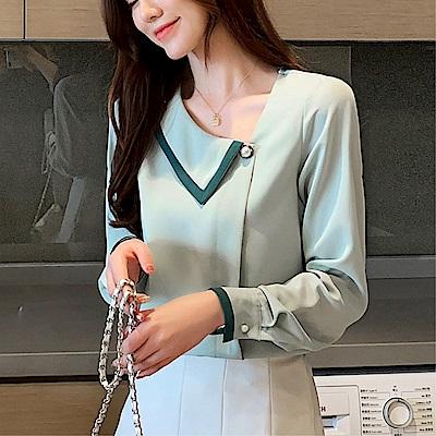 DABI 韓國風名媛氣質斜領釘珠雪紡衫長袖上衣
