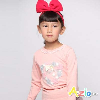 Azio Kids 女童 上衣  小花蕾絲珠珠蝴蝶結上衣 (粉)