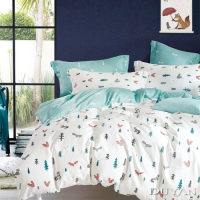 DUYAN竹漾-100%精梳棉/200織-單人床包被套三件組-松鼠之森 台灣製