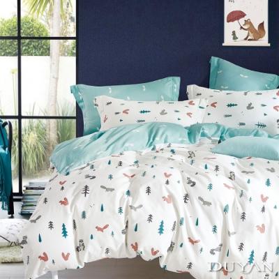 DUYAN竹漾-100%精梳棉/200織-單人三件式舖棉兩用被床包組-松鼠之森 台灣製