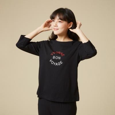 YVONNE Bon Voyage七分袖上衣-黑