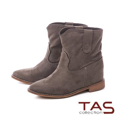 TAS質感素面絨布v口西部短靴-草墨綠