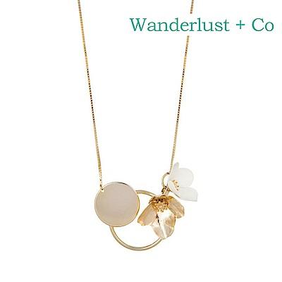 Wanderlust+Co 澳洲時尚品牌 MAIA盛開小花幾何圓圈項鍊 金色