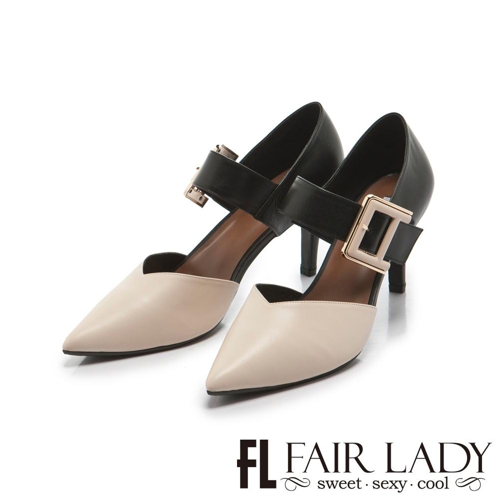 FAIR LADY 優雅小姐Miss Elegant 拼接扣環繫帶尖頭高跟鞋 亞麻