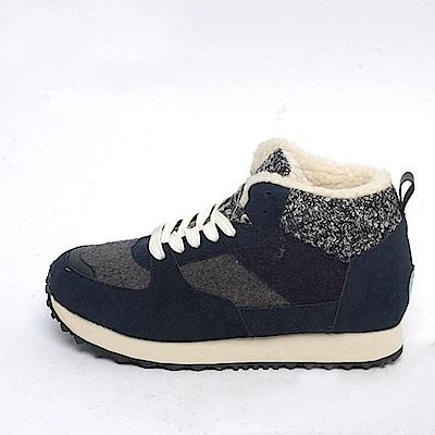 【AIRKOREA韓國空運】保暖內鋪毛運動綁帶內增高休閒鞋-藍-增高4.5公分