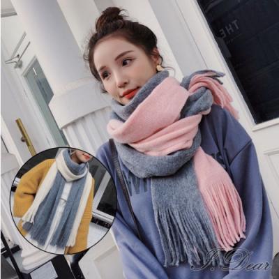 I.Dear-韓國小資女秋冬保暖長條雙面拚色塊仿羊絨圍巾披肩(2色)