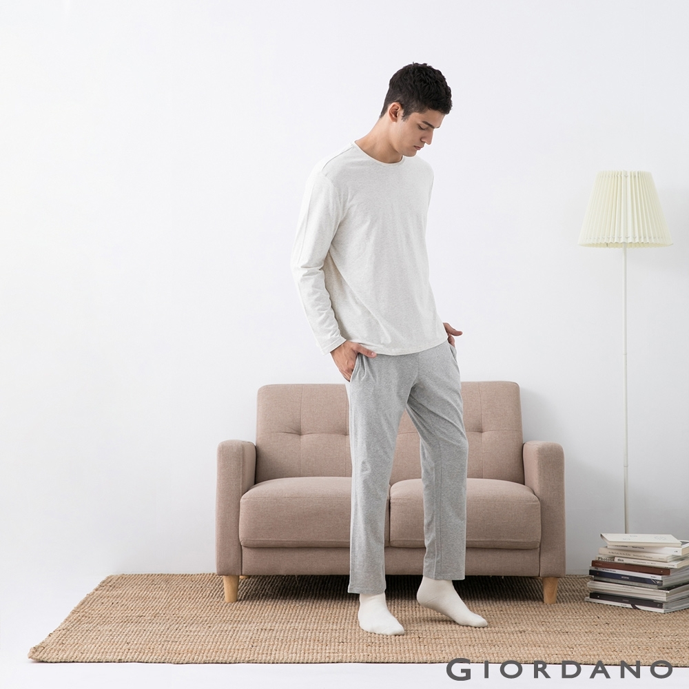 GIORDANO  男裝長袖居家套組 - 01 米灰+深灰
