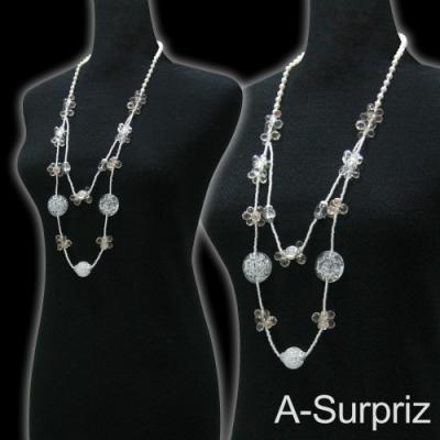 A-Surpriz 古典花漾串珠長項鍊(米白)