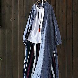立領棉麻襯衫外套長袖防曬衣長版開衫-設計所在