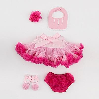 日安朵朵女嬰童蓬蓬裙彌月週歲禮盒組豪華小公主櫻花裙圍兜屁屁褲寶寶襪