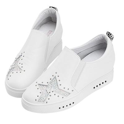 Robinlo & Co.星空主題牛皮微內增高休閒鞋 白