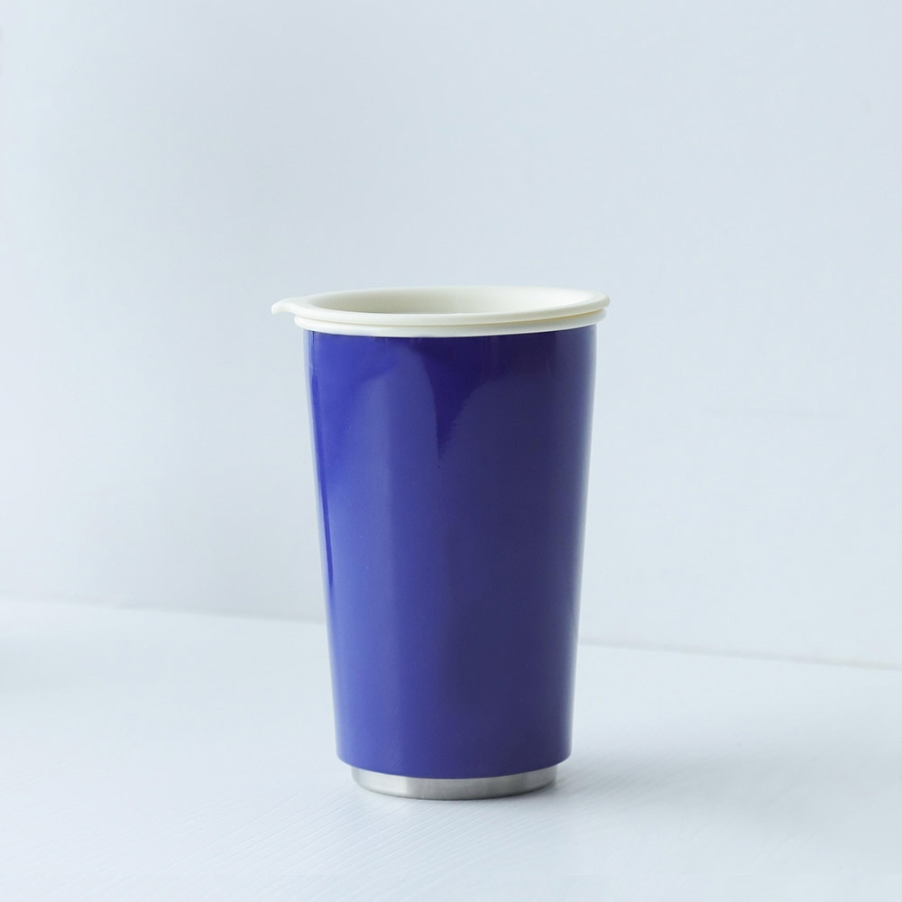 JIA Inc.虹彩鋼 雙層琺瑯塗層隨行杯350ml(藍色)(快)