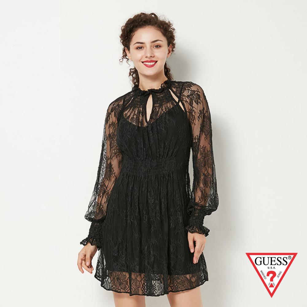 GUESS-女裝-蕾絲雕花長袖縮口洋裝-黑 原價3790