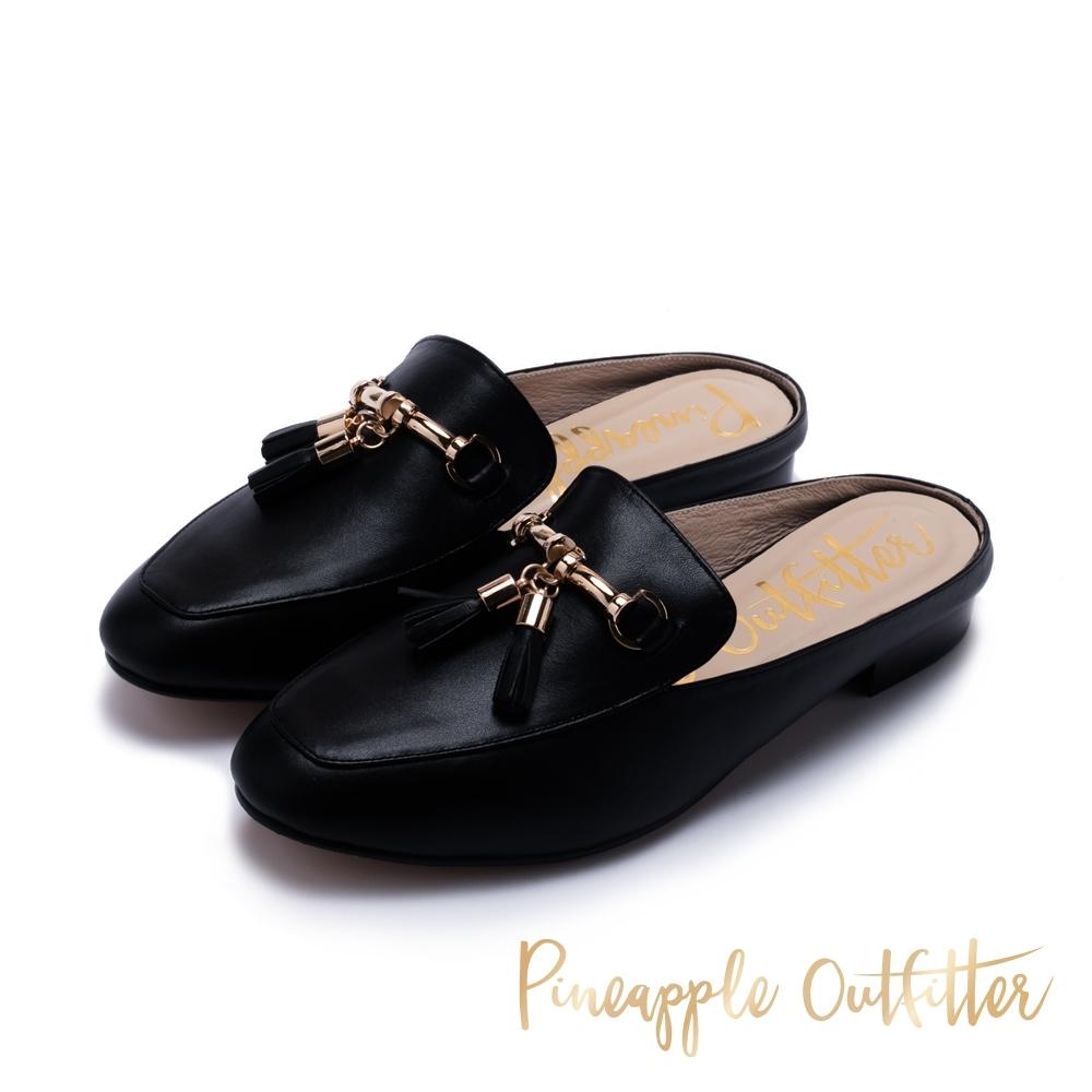 Pineapple Outfitter 都會時尚 質感牛皮流蘇穆勒鞋-黑色