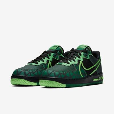 Nike 休閒鞋Air Force 1 React 運動 男鞋 經典款 輕量 舒適 球鞋 穿搭 質感 綠 黑 CW3918001