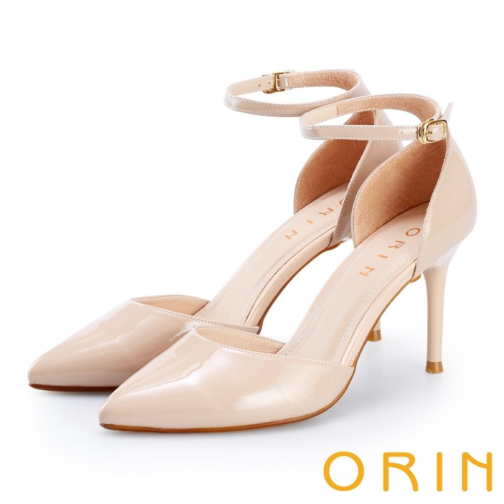 ORIN 羊皮繫踝繞帶尖頭高跟鞋 裸色