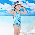 女童泳裝連身一件式(T-886藍色)附泳帽-TiNyHouSe