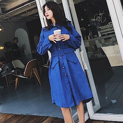 DABI 韓系純色立體收腰風衣配腰帶長袖洋裝