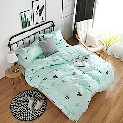 夢工場 綠意心賞60支紗埃及棉床包兩用被組-單人