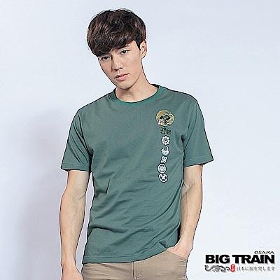 BIG TRAIN 家徽墨魂圓領T-男-中綠色